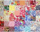"Liberty Fabric 48 Mini Charm Squares 2.5"" Bundle Patchwork Quilting Floral Medium Bright Rainbow Colours + Grey Liberty of London Tana Lawn"