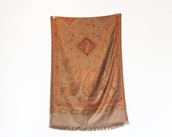 Pashmina Scarf Wrap Shawl Paisley Patterned Wool Scarf Floral Beige Golden Pashmina Acessories