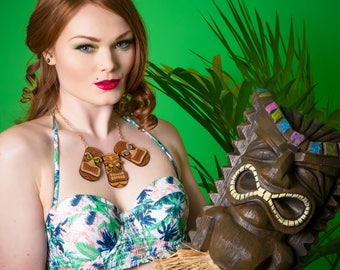 Tiki Head Trio statement necklace - laser cut acrylic and wood