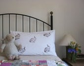 Pillow cases, Set of Two, hand printed, rabbit design