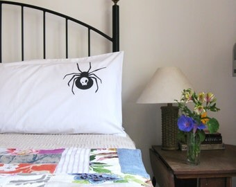 Pillow cases, Set of Two, hand printed, spider design