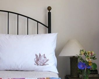 Pillow cases, Set of Two, hand printed, proteas