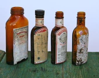 Vintage pharmaceutical bottles with original labels