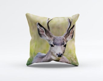 Happy Deer Pillow Cover 15 x 15 inch, Jungle cushion cover, Decorative Pillow Cover, Home decor