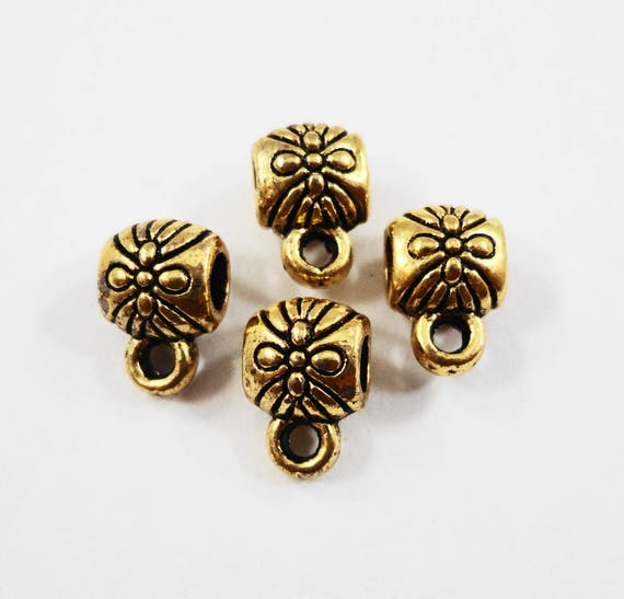 Small Gold Bails 8x5mm Antique Gold Jewelry Bails, Charm Bracelet Bails, Necklace Bails, Jewelry Making Supplies, Jewelry Findings, 10pcs