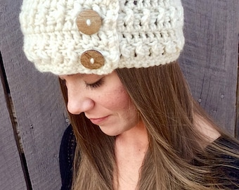 Crochet Cream Ear Warmer