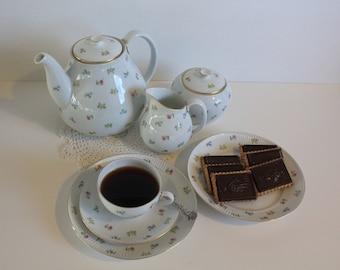 "Complete true treasure- antique  ""Kristiina"" pattern coffee serving set for 4, by Arabia Finland"