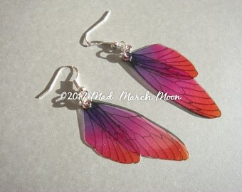 Micro 'Very Berry' Fairy wing earrings, sterling silver ear wires 6.5cm drop, latch back and clip on version available