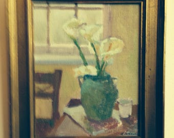 Listed CALA LILIES In Green Vase By Impressionist S. Ward