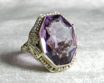 BELAIS Ring Amethyst Ring 1920s Rare Belais Bros Engagement Ring 14K Ring Unique Engagement Filigree Ring February Birthday