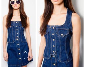 vintage 80s CHRISTIAN LACROIX indigo denim vest A-line skirt suit set
