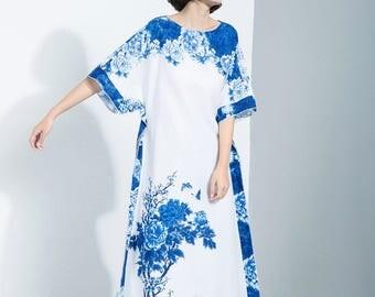 linen dress, blue flower dress, flower linen tunic, classic dress, short sleeve dress, flower print dress, maxi dress  C1117