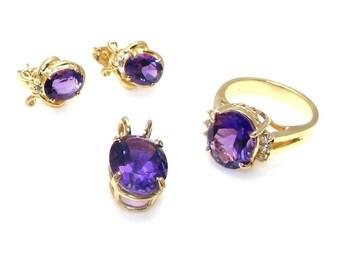 14k Yellow Gold Amethyst and Diamond Set - Ring, Pendant and Pierced Earrings - Amethyst Diamond Set - Size 6 1/4 - February Birthday # 4059