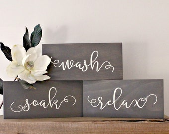 Wash Soak Relax Signs- Rustic Wood Signs- Bathroom Rules Signs- Rustic Bathroom Sign- Rustic Decor-  Rustic Wood Sign- Rustic Bathroom Decor