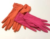 Vintage Ladies Gloves, Bright Orange and Neon Pink, Two Pair, Nice Detailing, Great for Spring