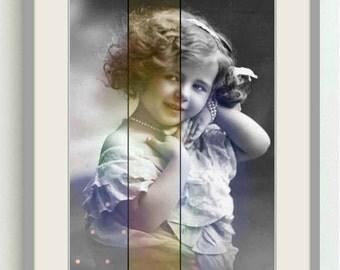 Vintage image altered art,Charming Girl,Pearls,vintage art,vintage photo,Image Instant Download.