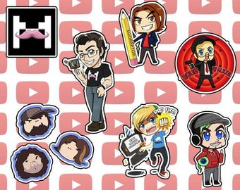 Youtubers Pewdiepie, Markiplier, Jacksepticeye, GameGrumps, Doug Walker Stickers & Keychains
