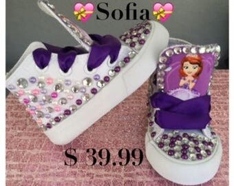 Sofia The First* Inspired*Bling Sneakers* Sofia Kicks* Sofia chucks*Princess Sneakers*Sofia The First Custom Sneakers*