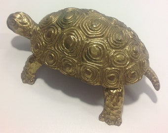 Vintage Brass Turtle Trinket Box Made in Italy