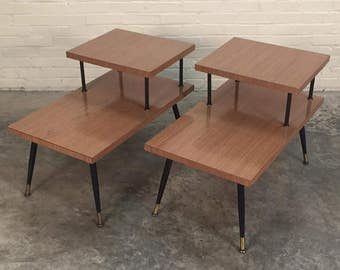 Pair Mid-Century Modern 2-Tier End Tables / Nightstands - SHIPPING NOT INCLUDED