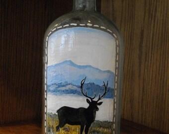 HANDPAINTED Bull Elk ANTIQUE Blue BOTTLE