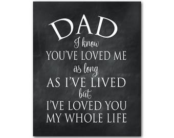 Unique Gift for Dad - Dad I know you've loved me as long as I've lived but I've loved you my whole live - Typography Wall Art Print