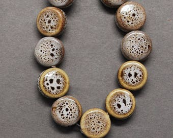 Porcelain Beads Glazed Porcelain Beads Brown Beads Flat Round Beads Flat Beads Glazed Beads Coin Beads 9mm Beads Wholesale Beads 10 pcs