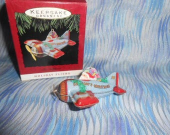 Hallmark Keepsake -1993 Tin Airplane-Holiday Fliers-Ornament