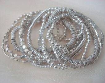 Silver Multi Strand Stretch Beaded Bracelet, Silver Bracelet, Beaded Bracelet, multi strand silver bracelet