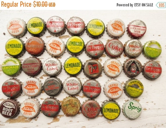 On sale bottle caps soda pop beer set of 37 used for Soda caps for sale