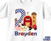 SALE Personalized Barnyard Farm Animals Boy Girl Birthday Party T-shirt Bodysuit Kids Cow Horse Sheep Chickens Pig Tractor Shirt