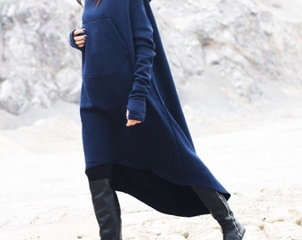 New Navy Extravagant Maxi Asymmetric Hoodie Fall Winter Fleece  Cotton Warm Top with Big Front Pocker HandMade by AAKASHA A08022
