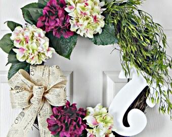 Hydrangea Wreath,  Monogram Wreath, Letter Wreath, Valentine's Wreath, Spring Wreath, Summer Wreath, Door Wreath, Valentine's Gift, Wreaths