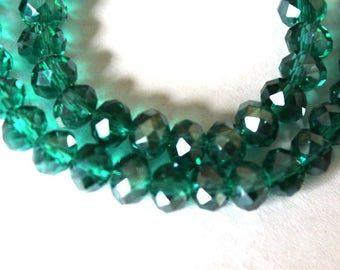 Full Strand Lovely 8 mm x 6 mm Teal Faceted Crystal Rondell Beads