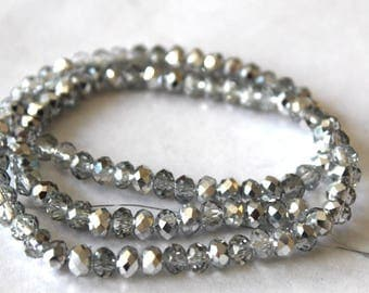 6 mm Silver/Clear Faceted Rondelle Crystal Beads