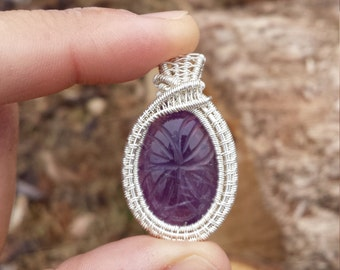 Carved Amethyst Fine Silver Wire Wrapped Pendant