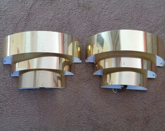 A Pair of Mid Century Hollywood Regency Wall Sconces in Brass