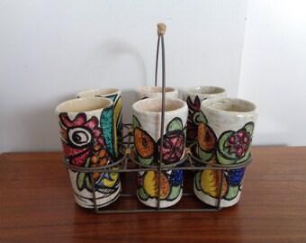 Vintage,retro,Studio Made Hand Decorated Ceramic Tumblers Set of 6,