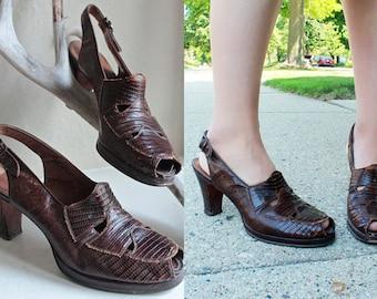 40s Vintage Pumps PEEP TOE SHOES Genuine Lizard Leather Platform Sling Back Rockabilly Woman Classic Dress Heels Animal Shoe Size 9.5 Narrow