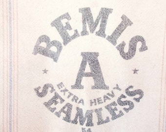 A 'Bemis A Extra Heavy Seamless' Seed/Feed Sack - Heavy Cotton Muslin - Orange and Blue Stripes - Faded Black Lettering - Farmhouse Chic