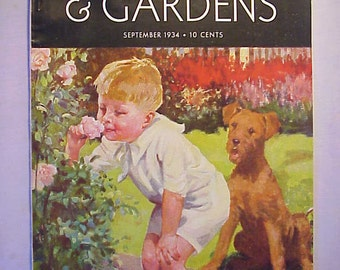 September 1934 Better Homes & Gardens Magazine has 62 pages of ads and articles with Cover Art By C. H. Taffs , Interior Decorating Magazine