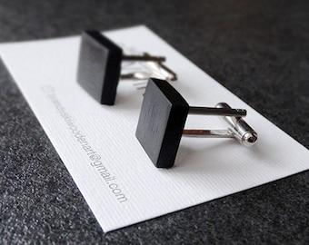 Cuff links - elegant wooden cuff links / exotic ebony wood / - ebony - 2 sizes / 1,5cm and 1,7 cm