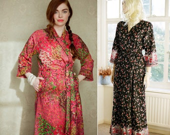 """One """"Astaire"""" style long cotton robe or dressing gown. Lined with pockets Full length robe Art Deco robe Long bohemian kimono robe"""