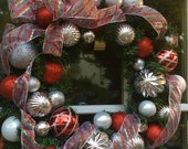 Christmas Wreath--Classic Christmas--Shiny Silver and Red