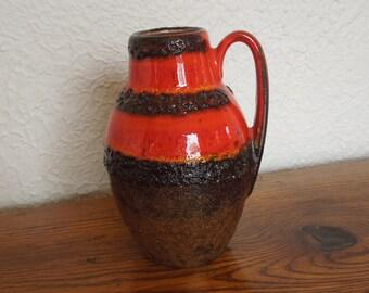 Vintage West German Fat Lava Pottery Vase 414-16 Mid Mod