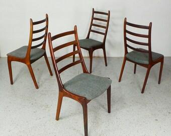 set 4 rare mid century Danish modern Kai Kristiansen rosewood high back dining chairs