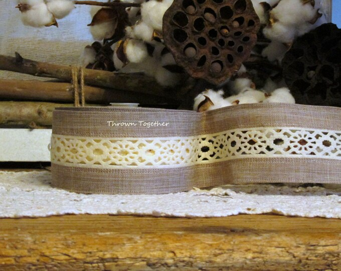 "Natural Tan Ivory Felt Lace Ribbon, 2 1/2"" Craft Ribbon 5yd, Tan Ivory Ribbon, Ivory Felt Lace Natural"
