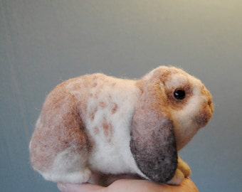 Custom Made Rabbit Portrait, Needle Felted Bunny, Lifelike Rabbit, Standard Plush Lop, Harlequin rabbit or any other breed - made to order