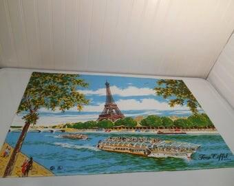 The Eiffel Tower linen, Vintage linens, French linens, Champ de Mars, The Eiffel Tower, Irish made linen, The La Seine river