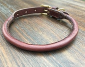 Bridle Rolled Leather Dog Collar - Hand-Stitched
